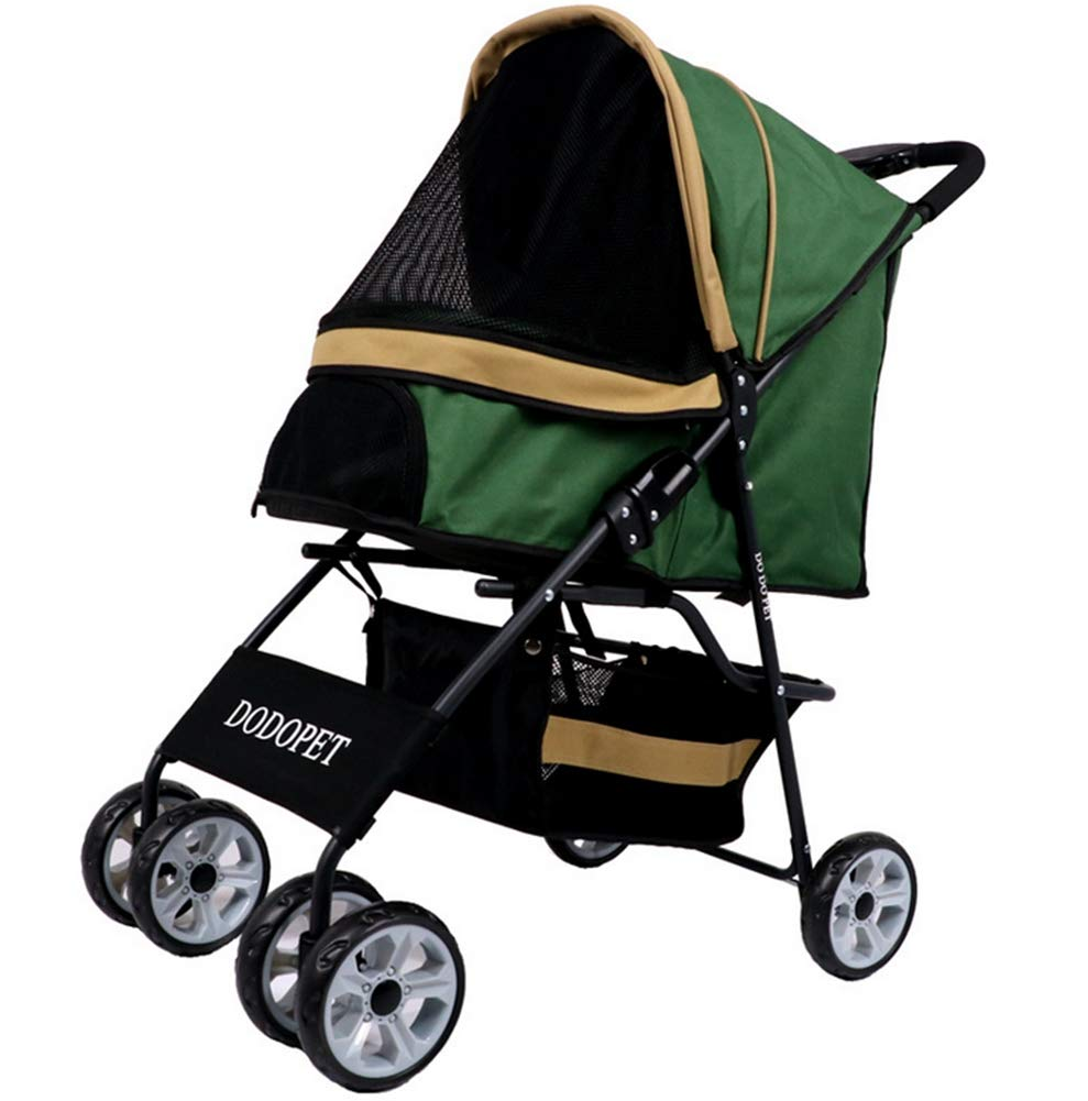 Pet Stroller Free Rain and Wind Cover One Button Storage Oxford Cloth Foldable with 4 Wheels Loading 15 kg Suitable for Puppies (80  95cm)