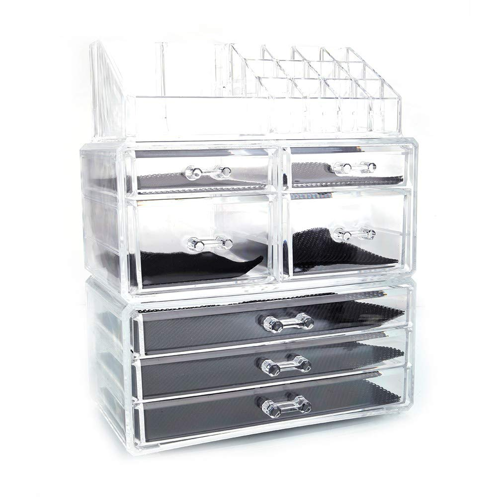 KTKAP Makeup Organizers Cosmetic Jewelry Storage Cube Case Set Clear w 7 Drawers, 3 in 1