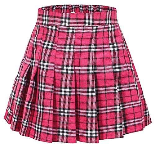 Junior Teen Girls Womens School Uniform Cosplay Costume Plaid Pleated Short Skirt, Q01 Hot Pink/New Version Tag L = US M