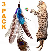 3 Pack Super Guinea Fowl Peacock Feather Replacement Refills! Compatible with Da Bird, Go Cat, Bird Catcher PRO Wand Teaser Toys
