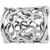 ULTNICE Women's Hollow Rose Scarf Buckle Ring (Silver)