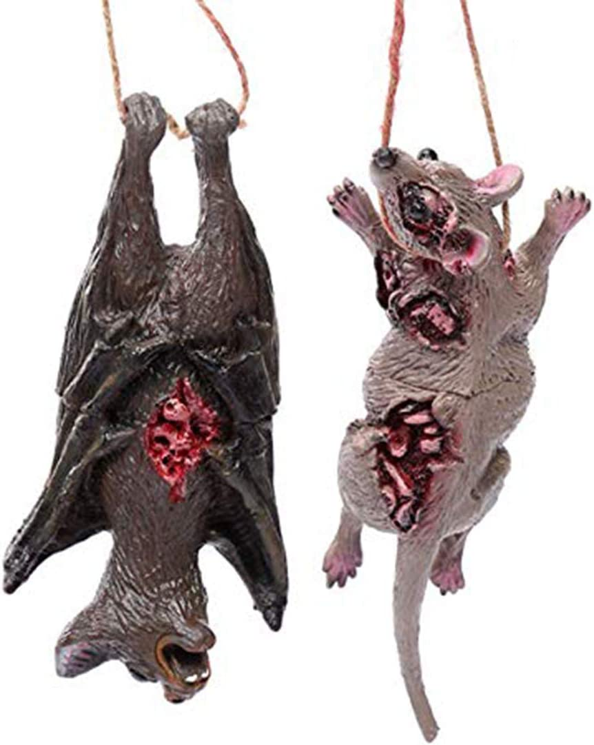 MS.CLEO Halloween Bloody Horror Prop -Bloody Animal Model Pendant, Fake Bat Toy Realistic Animal Shape Pendant Necklace for Halloween Decoration Haunted House Bar Door Window Decor (Bat+Mouse)