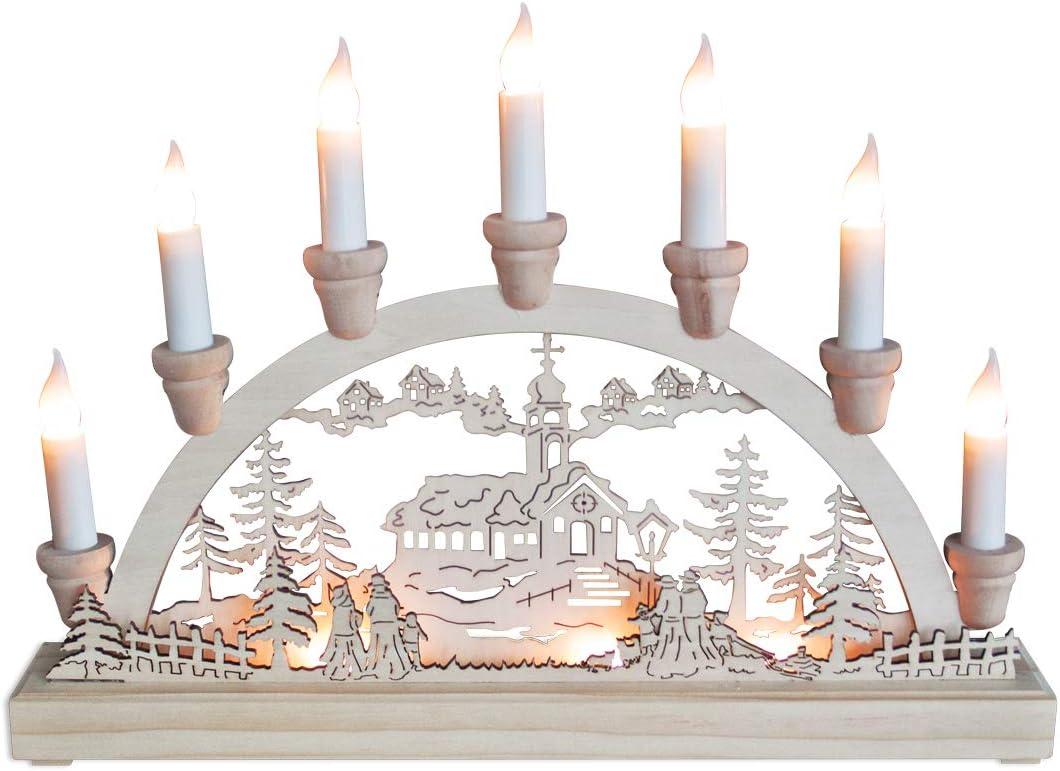 Festive CHRISTMAS Snowman Village Scene Candle Bridge WITH LIGHTS NEW