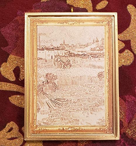 Without a Bail Dollhouse Miniature View from the Wheatfields Vincent van Gogh Fine Art Fans
