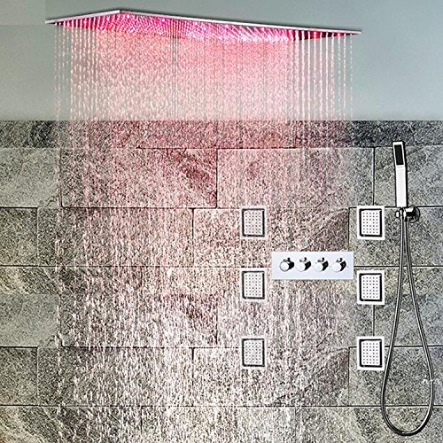 Gowe 5001000mm Large Rainfall LED Shower Head High Flow 50L Hot Cold Conceal Shower Mixer Body Jets Massage Shower Set 4