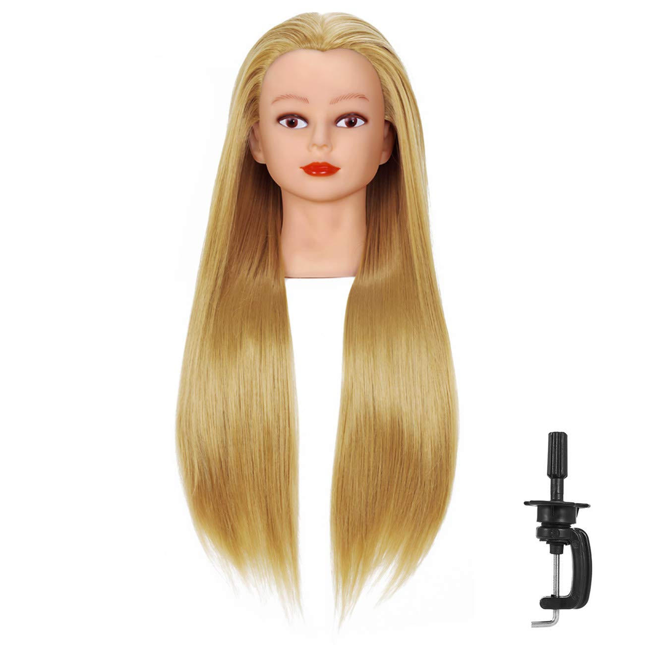Amazon Com Czfy Cosmetology Mannequin Head With Synthetic Hair And Adjustable Stand 26 28 Blonde For Braiding Hair Styling Training Hairart Hairdressing Salon Display Blonde Beauty