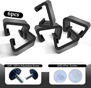 Outdoor 6pcs Clips for Patio Rattan Sectional Sofas Wicker Chair Clips Garden Furniture Clips Connector Module Couch Fasteners Clip Patio Rattan Furniture w/ 16pcs Adjustable Screws and 4pcs Sucker