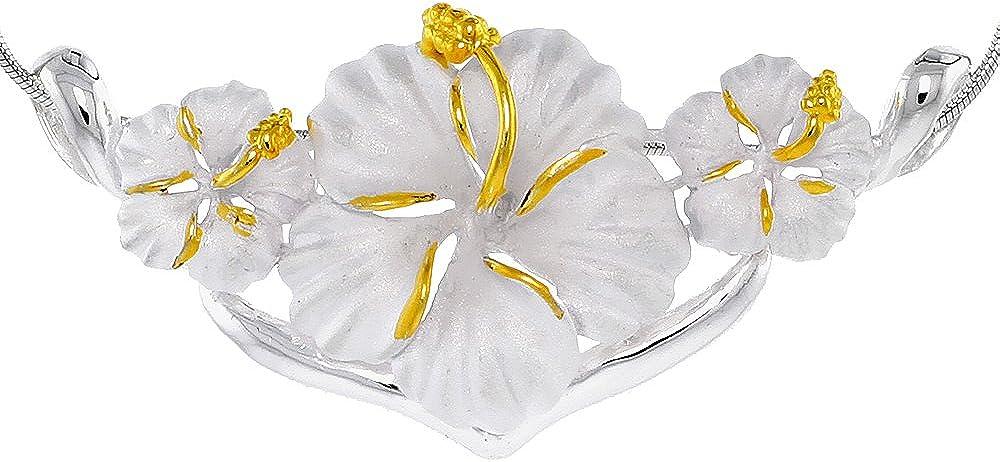 Hawaiian Theme Sterling Silver 2-Tone Triple Flower Charlotte Mall Sl Max 83% OFF Hibiscus
