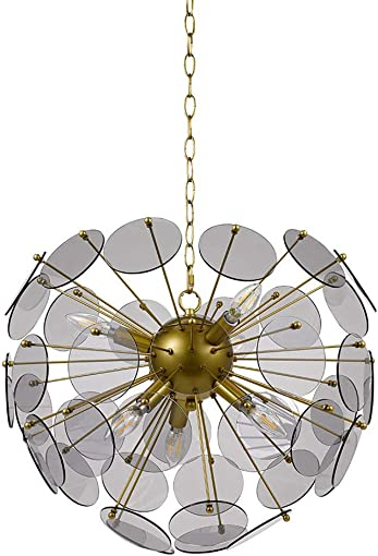Amazon Brand Rivet Modern Smoke Glass Sputnik 6 Light Hanging Ceiling Pendant Chandelier Fixture With 6 LED Candle Bulbs – 20 x 20 x 17 Inches, Gold