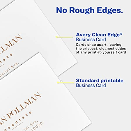 Amazon avery printable business cards inkjet printers 200 amazon avery printable business cards inkjet printers 200 cards 2 x 35 clean edge heavyweight 8871 business card stock office products reheart Image collections