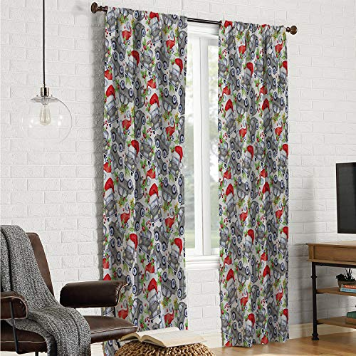 Mozenou Kitchen/Bedroom Window Curtains Cars,Christmas Themed Hand Drawn Cars with Santa Hats and Presents on Winter Holiday,Lime Green Grey W120 x L96 Inch]()