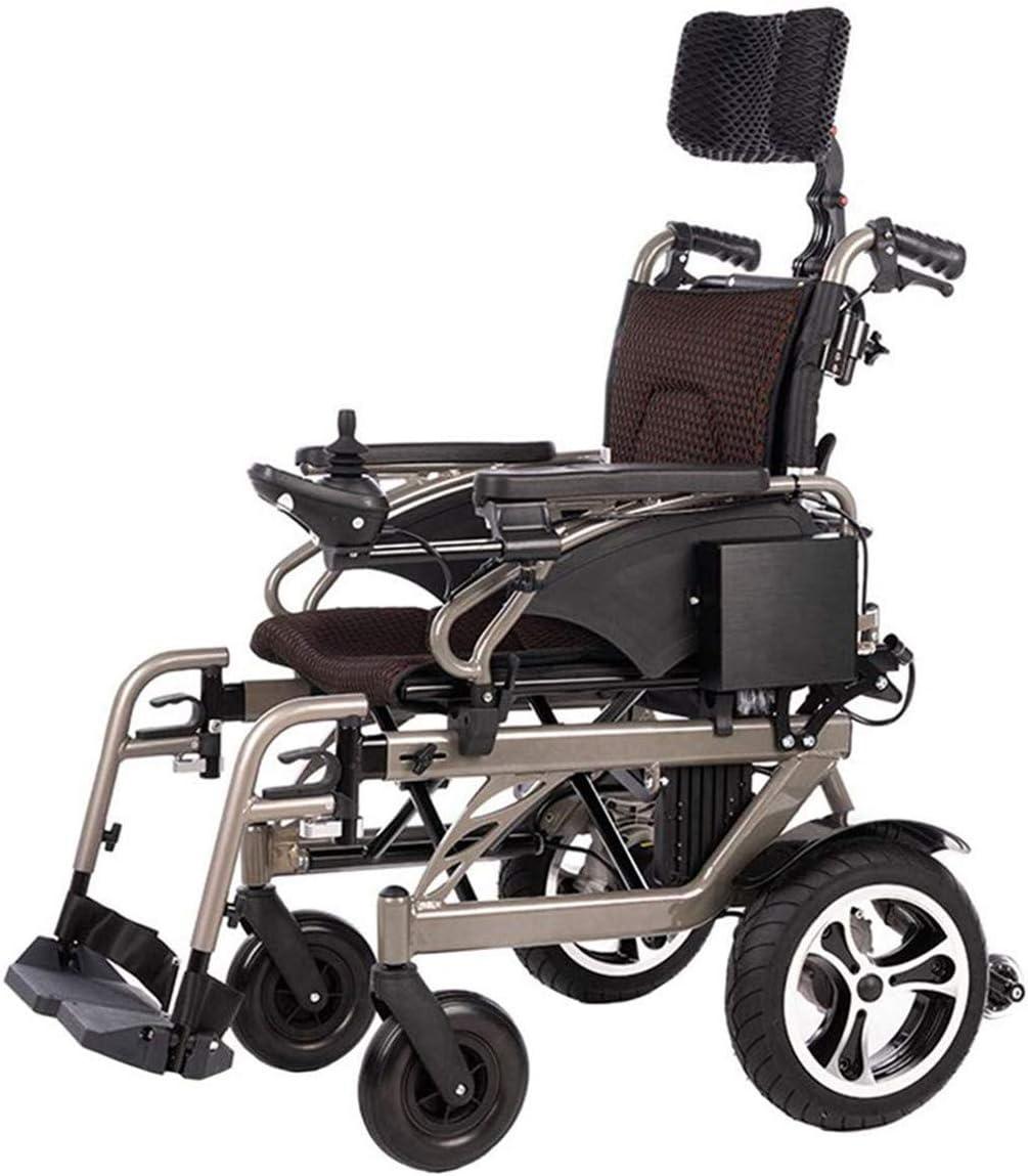 Jacquelyn Silla de Ruedas eléctrica Silla de Ruedas Auxiliar compacta Ancianos discapacitados Plegable Silla de Ruedas eléctrica portátil Doble Motor Manual Modo Dual eléctrico/batería de Litio