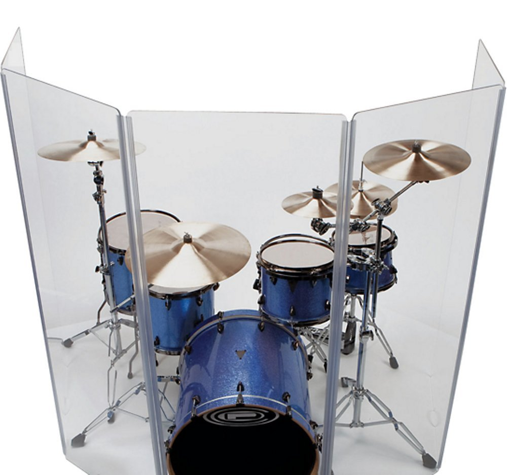 Drum Shield DS4 L 5 Section Drum Shield Acrylic Drum Panels with Hinges by Pennzoni