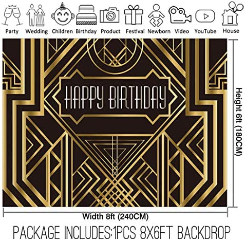 8x6FT Photography Backdrop Great Gatsby Birthday Adults Children Party Black and Gold Golden Banner Photo Studio Booth Background Newborn Baby Shower Decoration