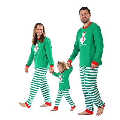 Baywell Christmas Family Holiday Bear Warm Printed Pajama Family Clothes Sets: Clothing