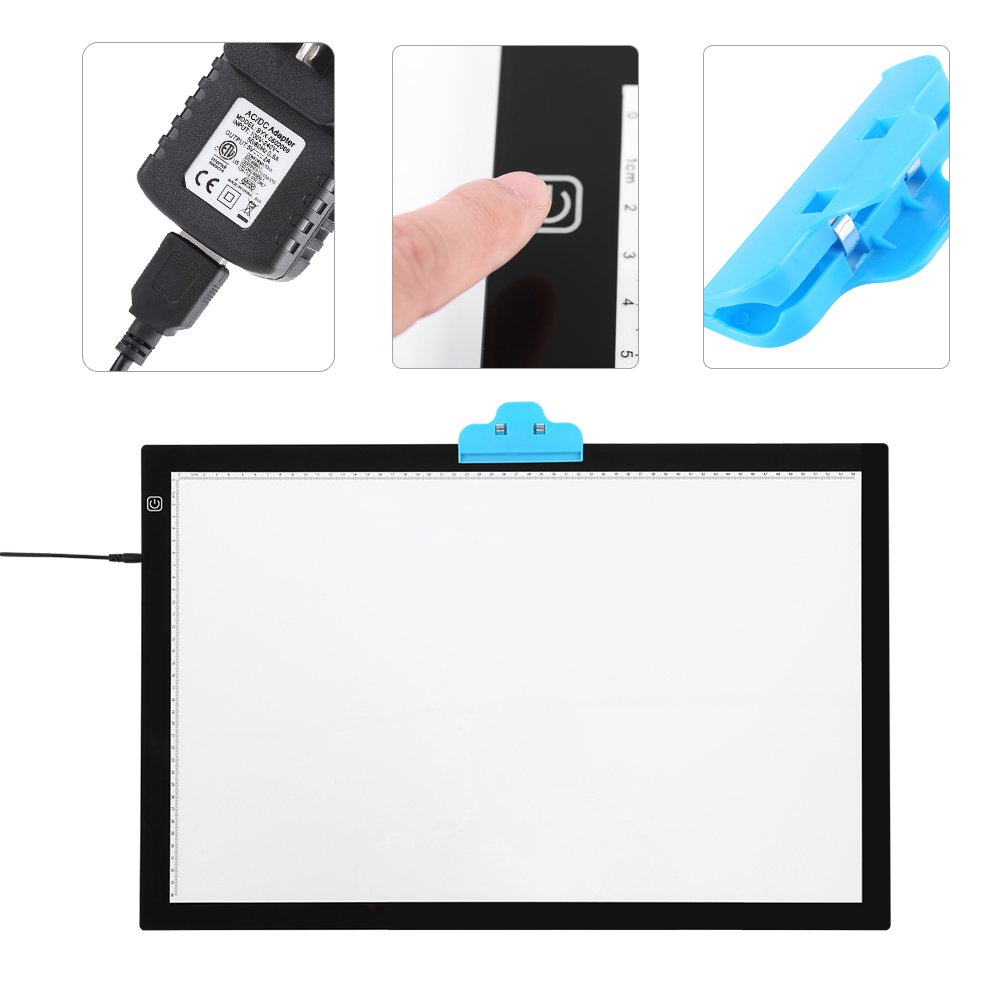 ZJchao A2 LED Tracing Board, Adjustable Brightness Light Box Stencil Drawing Board Table Copy Pad for Artcraft Animation Sketching Tattoo Transferring by ZJchao (Image #2)