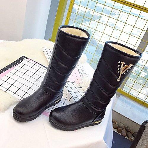 Plana de CN39 Botas HSXZ ZHZNVX Calf Botas Marrón Mujer Zapatos Marrón Confort PU de UK6 Negro Puntera Tacón UE39 Mid para Casual Redonda Otoño Invierno US8 qwq4OdnAE