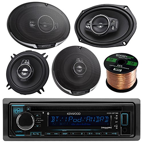 Kenwood KDC-BT31 Single DIN Bluetooth In-Dash CD/AM/FM Car Stereo Receiver Bundle Combo With 2x 6x9
