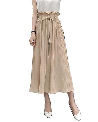 Adelina Freizeithose Damen Elegante Loose Unifarben Fashion 7 8 Hose Weiten  Bein Stretch Jungen High 67cc30bcd7