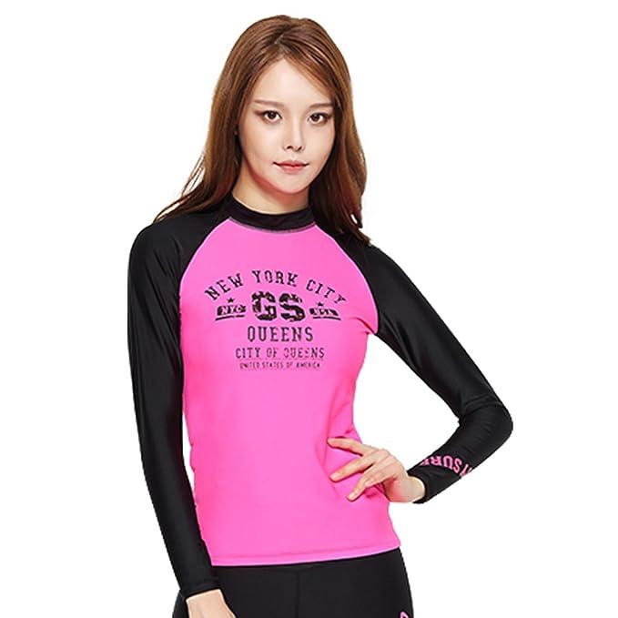 b591026e1042c6 Image Unavailable. Image not available for. Color  GSOU Snow Women s Long  Sleeve Rash Guard Shirt Swimwear Swim Sun Protection UPF 50+ Top