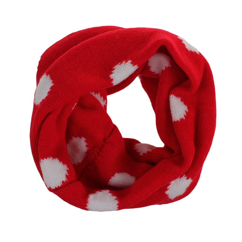 Butterme Unisex Baby Kids Winter Warm Soft Knitted Infinity Neck Warmer Cute Round Dot Pattern Loop Scarf Scarves Wrap for 1-8 Years Old Kids (Red) ZUMUii