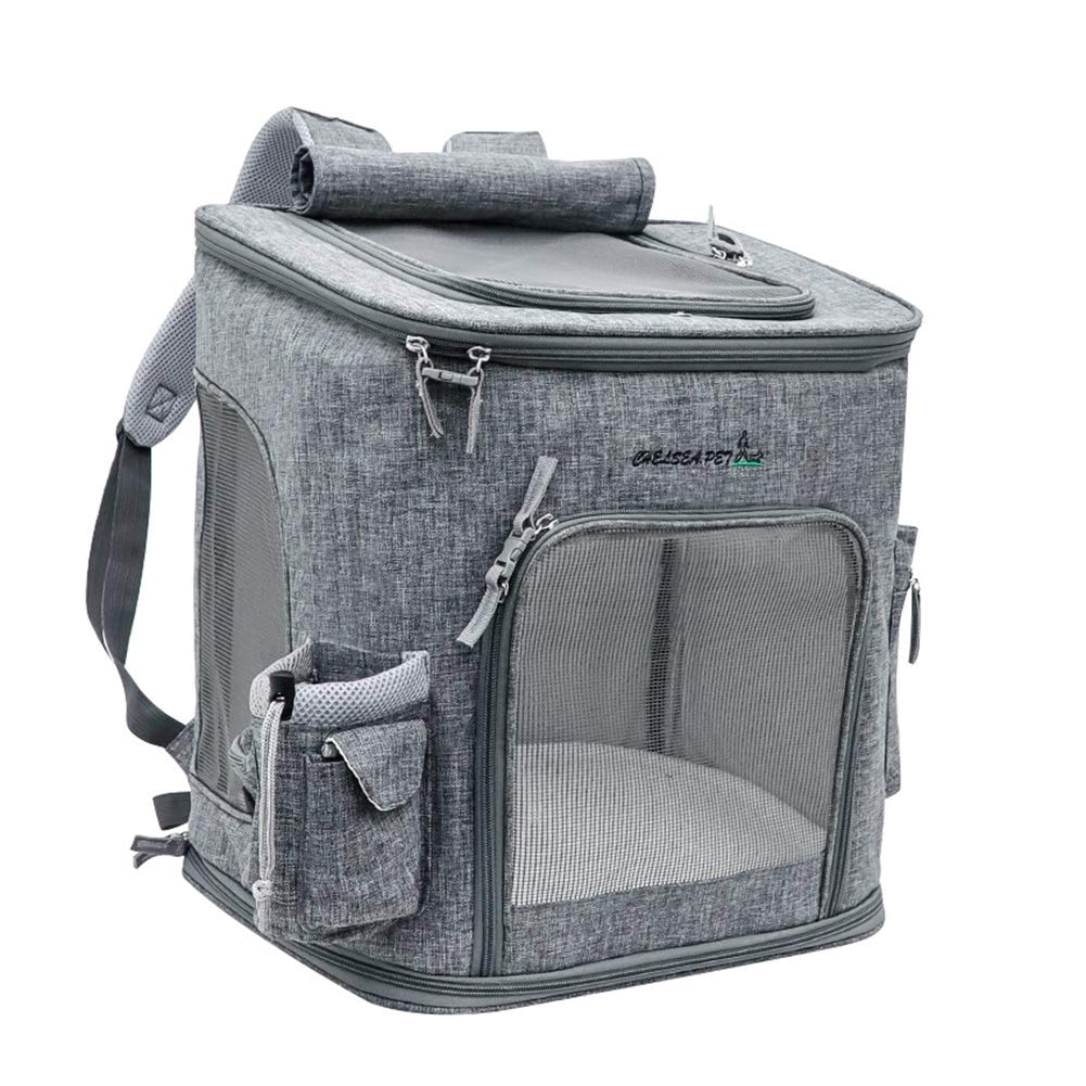 Pet Travel Carrier Backpack Carry Bag for Pets Dogs Cats Full Mesh Breathable Cage Carry Carrier Transportable Folding Portable