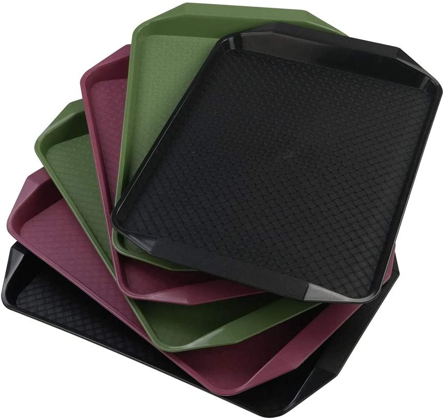 Ortodayes 6 Packs Plastic Fast Food Trays, Wine Red, Black and Green