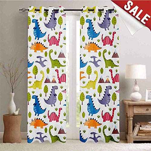 (Flyerer Kids, Room Darkening Wide Curtains, Cartoon Style Colorful Lovely Dinosaurs T-Rex Triceratops Prehistoric Reptile Wildlife, Decor Curtains by, W72 x L84 Inch Multicolor)