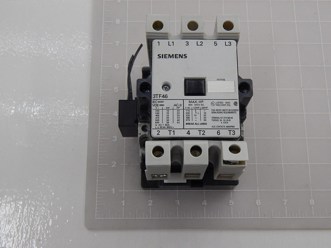 Siemens 3TF46 3 Pole 600V 80A Contactor