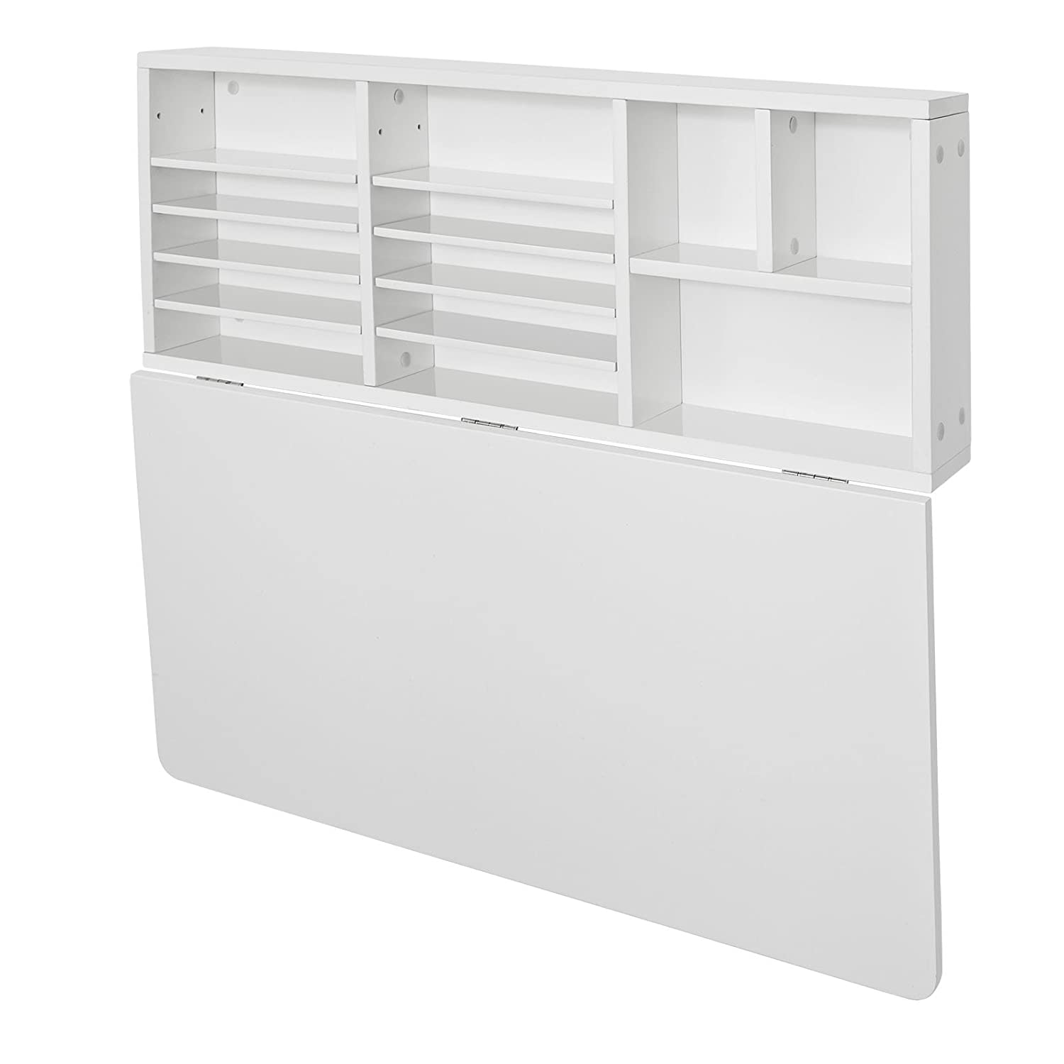 SoBuy FWT07 W, Folding Wooden Wall Mounted Drop Leaf Table Desk Integrated  With Storage Shelves, L90xW60cm, White: Amazon.co.uk: Kitchen U0026 Home