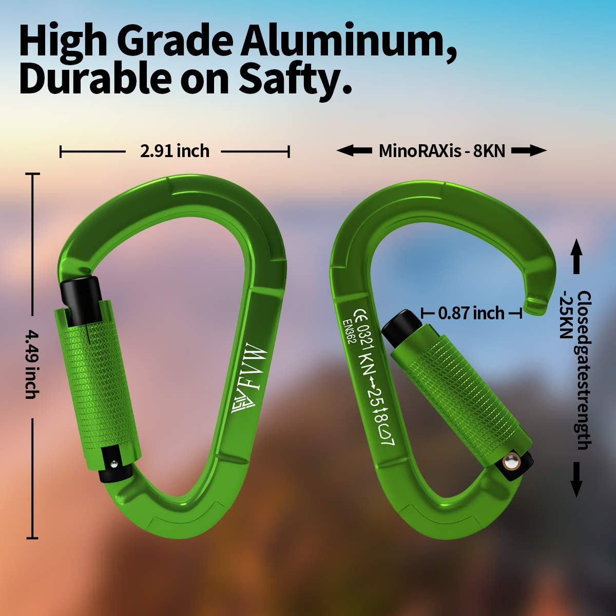 Hiking /& Utility Camping Locking Dog Leash and Harness Swing Green FVW 3Pack Heavy Duty Climbing Carabiners,25KN Auto Locking Rock Climbing Carabiners Clips for Hammocks