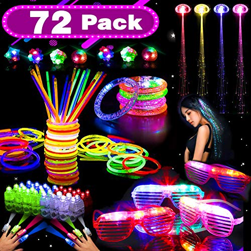 2019 Party Favors 72 Pack LED Light Up Toy Glow in the Dark Party Supplies for Kids with 36 Glow Sticks Bulk 20 LED Finger Lights 4 LED Glasses 4 Light Up Hair 4 LED Bracelets Birthday Gift