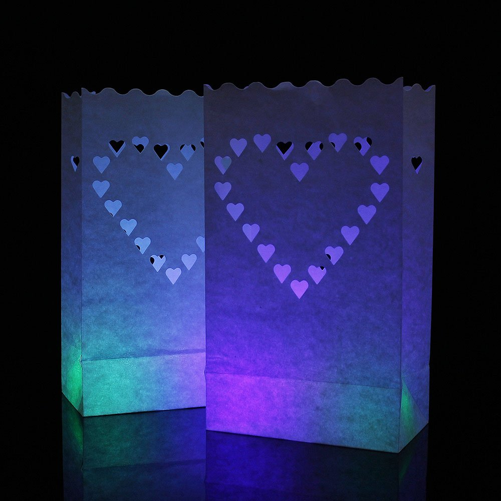 Candle Paper Bag,Luminary TeaLight Hollowed , Make for Wedding Birthday Courtship New Year or Other Party more perfect,White,20pcs (Big Heart)
