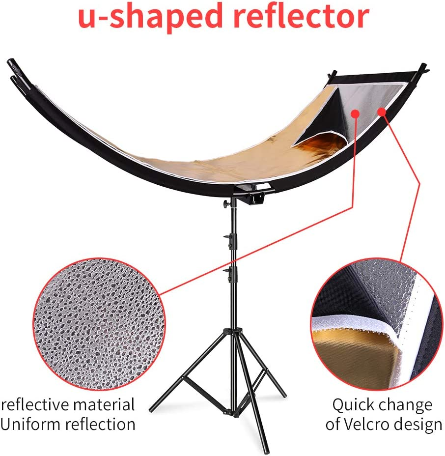 Black//White//Gold//Silver 63x24 Inch Arclight Curved Eye Lighter Lighting Reflector Kshioe Clamshell Light Reflector//Diffuser for Studio and Photography with Light Stand