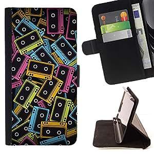 Momo Phone Case / Flip Funda de Cuero Case Cover - Arte cintas de casete de neón 90S Coloridos Música - LG G3