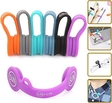14 Pack Silicone Magnetic Clips Headphone Cable Organisers Earbuds Cord Winder Manager Keeper Bookmark Whiteboard Noticeboard Fridge Magnets USB Cable Ties Straps Wire Holder Home Office