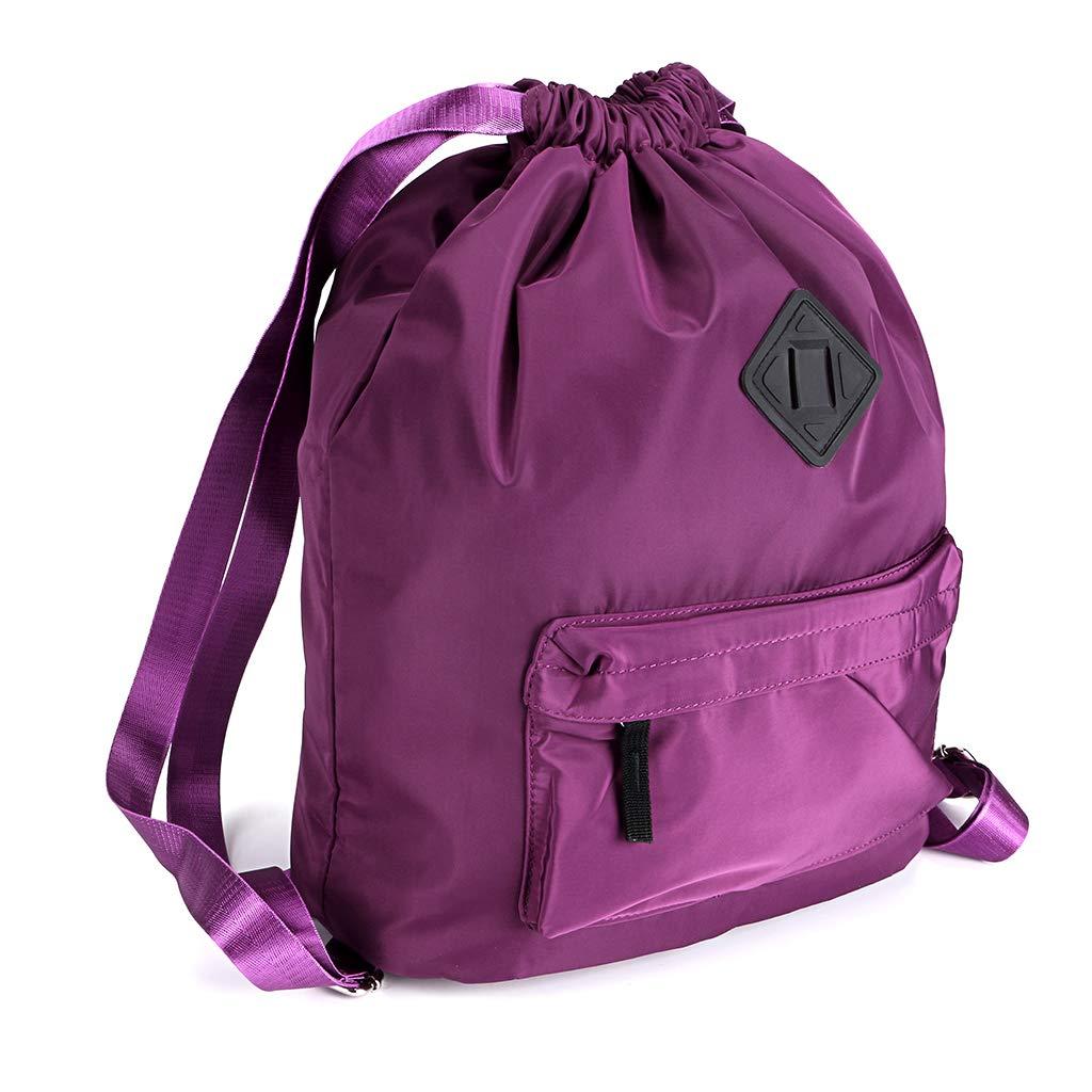 Hipiwe Drawstring Backpack with Large Capacity,Water Repellent Lightweight Travel Rucksack, Foldable Sport Gym String Bag Cinch Sack Sackpack Gymsack School Bag for Men Women Student Use (Purple)