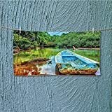 Super Absorbent Towel Boat in Tropical River in National Park of Costa Rica Green Brown and Aqua Ideal for Everyday use L27.5 x W11.8 inch