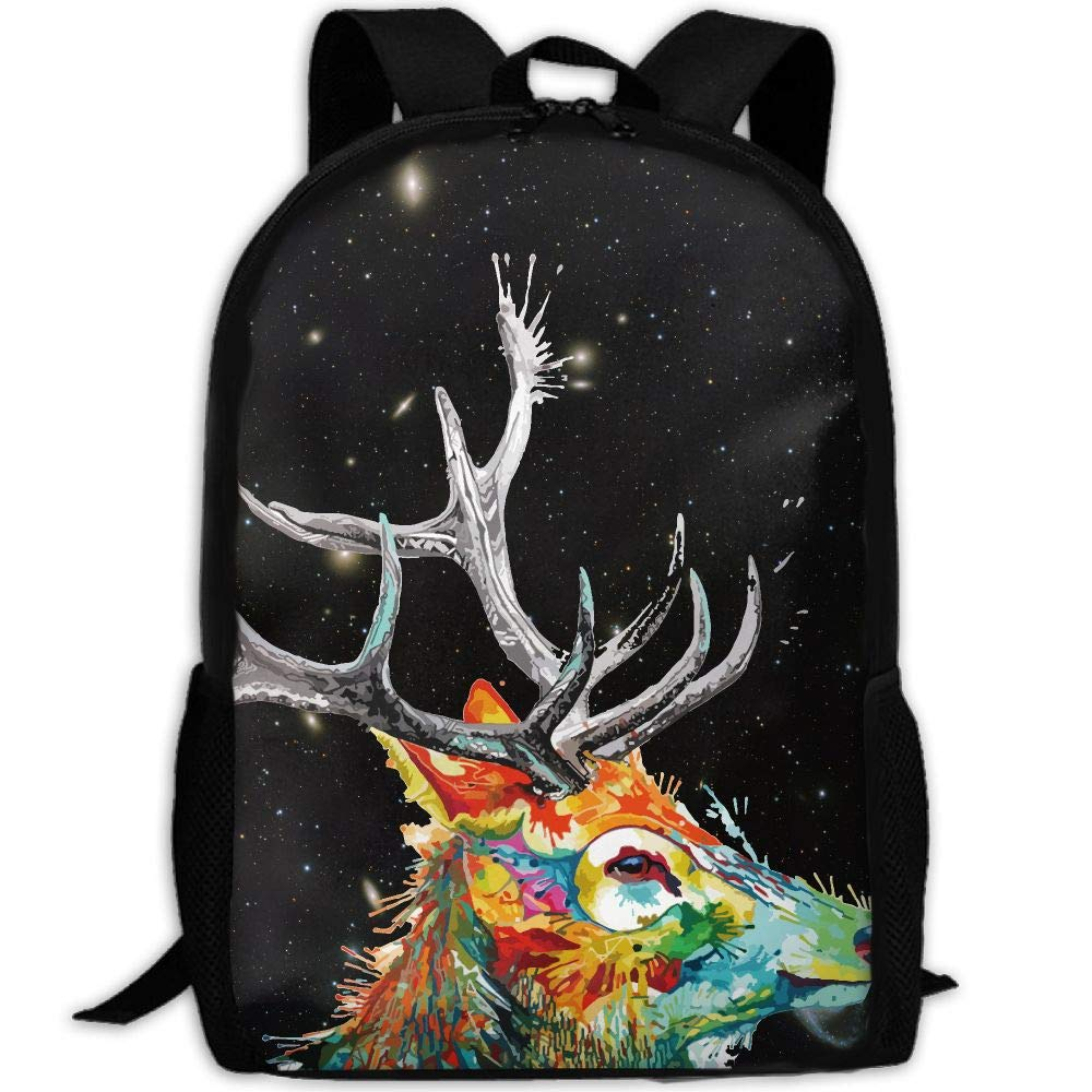 OIlXKV Reindeer Spray Paint Print Custom Casual School Bag Backpack Multipurpose Travel Daypack For Adult