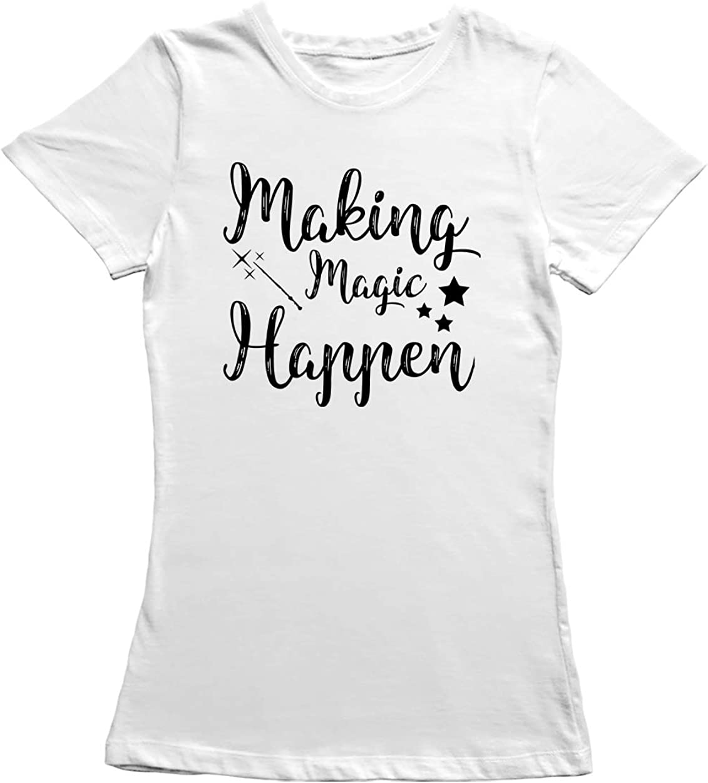 Amazon Com Making Magic Happen Graphic Women S White T Shirt Clothing