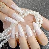 EchiQ - uñas postizas de mármol de jade blanco extra largas, color blanco y rosa