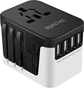 Universal Travel Adapter - EPICKA All in One International Wall Charger AC Plug Adaptor with 5.6A Smart Power and 3.0A Type-C for USA EU UK AUS (Black + White)