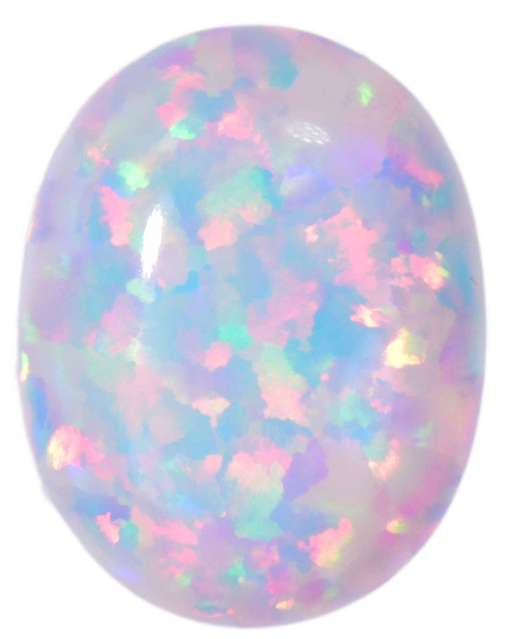 Created Opal Oval Cabochon White Oval 9mm x 7mm (1) by uGems
