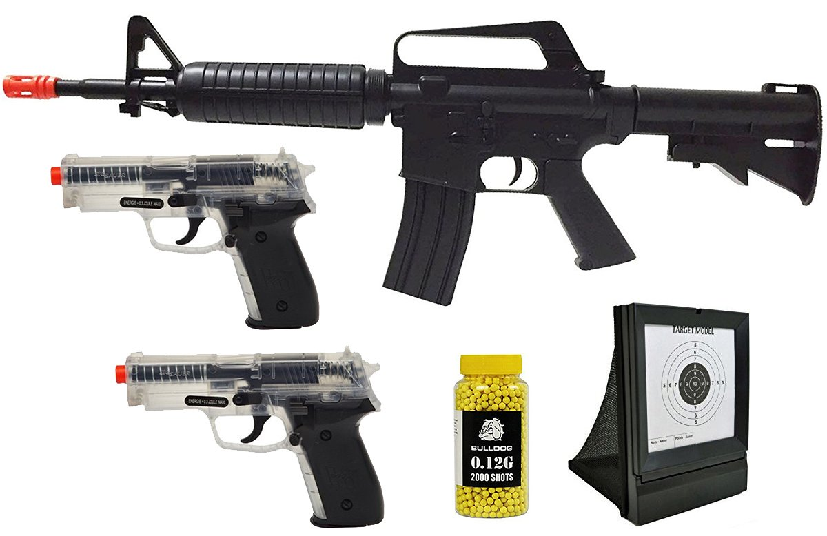 A&N Airsoft Pack of 5 Bundle Deal - Airsoft Spring Rifle, 2X Airsoft Spring Pistols, Light Weight Airsoft Target,Pack of 2000 BBs