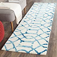 Safavieh Dip Dye Collection DDY712H Handmade Geometric Watercolor Ivory and Turquoise Wool Runner (23 x 6)