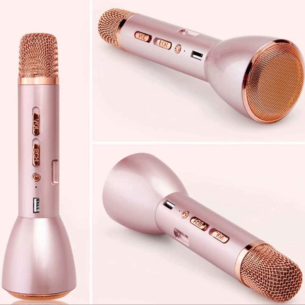 HSTFⓇ Karaoke-Mikrofonlautsprecher mit drahtlosem Bluetooth Rotgold