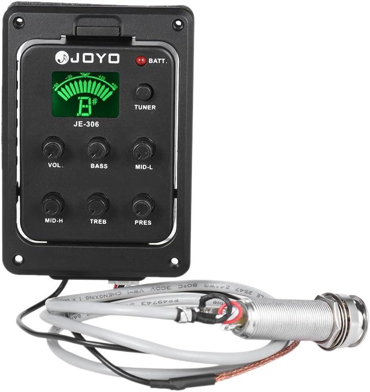 Joyo JE-306 5-Band EQ - Ecualizador para guitarra acústica, piezoeléctrico, preamplificador, sistema de sintonizador con pantalla LCD