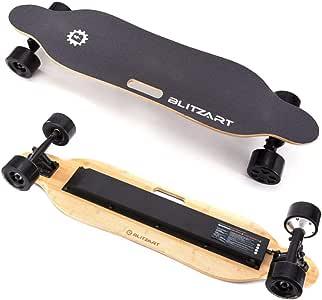 "BLITZART Tornado 38"" Electric Longboard E-Skateboard Motorized Electronic 17mph Hub-Motor 3.5"" PU Wheels (Black)"