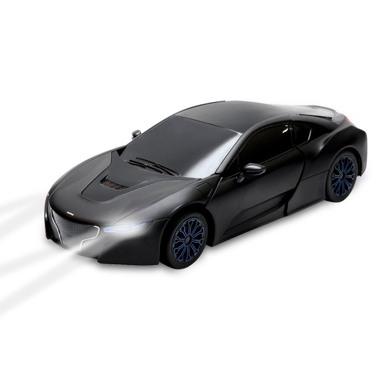 Blitzzauber24, 2 in 1 Auto RC Modelli di Robot per Auto Sportive Modelli di Telecomando Giocattolo per Bambini, Nero