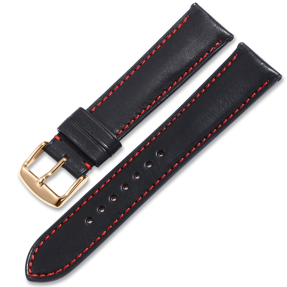 iStrap Quick Release Leather Watch Band Wrist Calf Strap Men Women 20mm Soft Pin Buckle Coffee